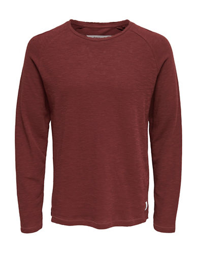 Only And Sons Knitted Cotton Tee-BROWN-XX-Large