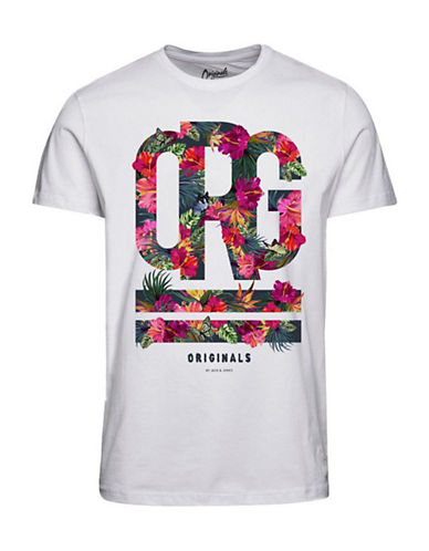 Jack & Jones Printed Cotton T-Shirt-WHITE-X-Large 89285475_WHITE_X-Large