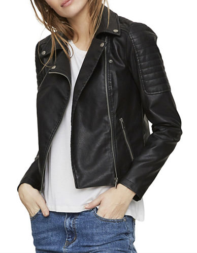 Noisy May Zippered Notch Lapel Jacket-BLACK-Small