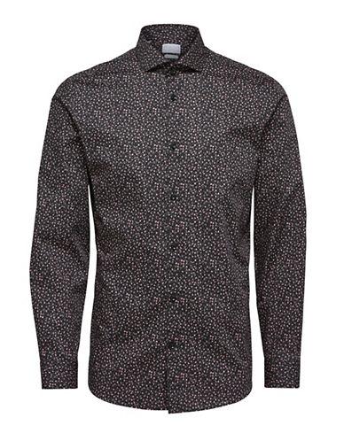 Selected Homme Floral Long-Sleeve Cotton Sport Shirt-BLACK-Medium 89853245_BLACK_Medium