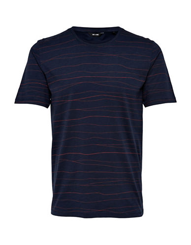 Only And Sons Printed Cotton Tee-BLUE-Large