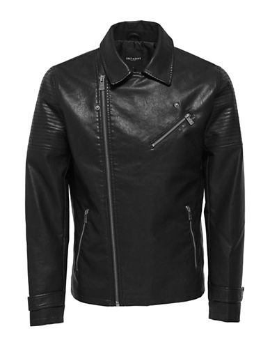 Only And Sons Notch Collar Biker Jacket-BLACK-X-Large