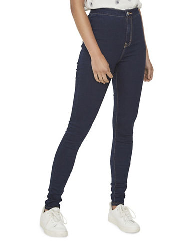 Noisy May Super Slim Skinny Jeans-DARK BLUE DENIM-Large