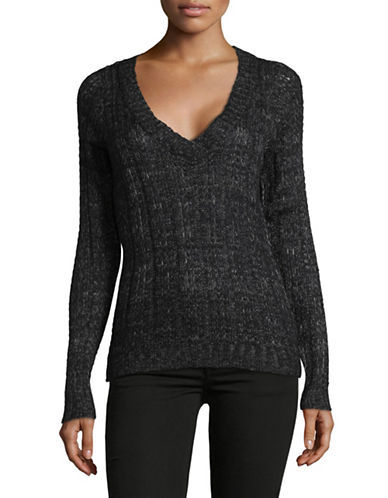 Vero Moda Deep V-Neck Knit Sweater-BLACK-Medium