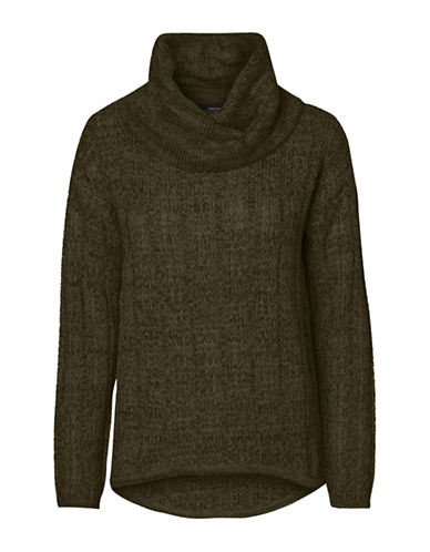 Vero Moda Amanda Jive Cowl Neck Pullover-GREEN-Medium