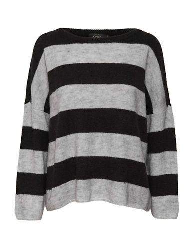 Only Striped Oversized Pullover-BLACK-Small