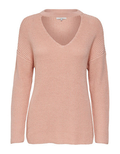 Only Long-Sleeve Choker Pullover Sweater-PINK-Small
