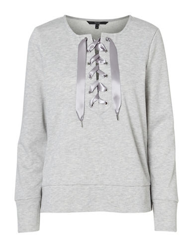 Vero Moda Tieme Lace-Up Front Sweatshirt-GREY-Medium