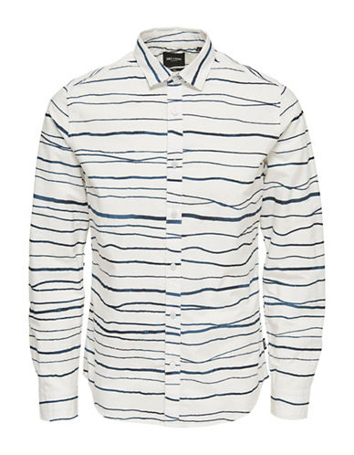 Only And Sons Striped Cotton Sport Shirt-WHITE-Medium