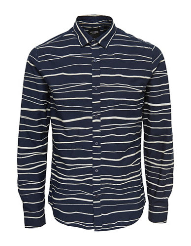Only And Sons Striped Cotton Sport Shirt-DARK BLUE-X-Large