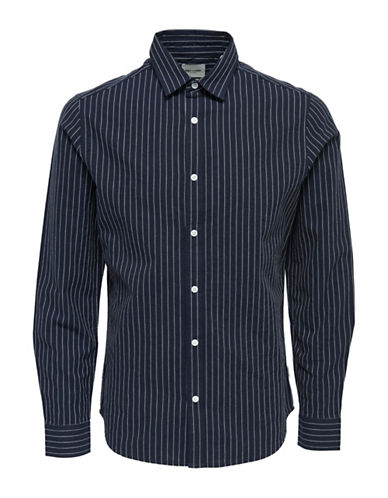 Only And Sons Slim-Fit Striped Cotton Sport Shirt-DARK BLUE-X-Large