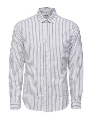 Only And Sons Slim-Fit Striped Cotton Sport Shirt-WHITE-XX-Large