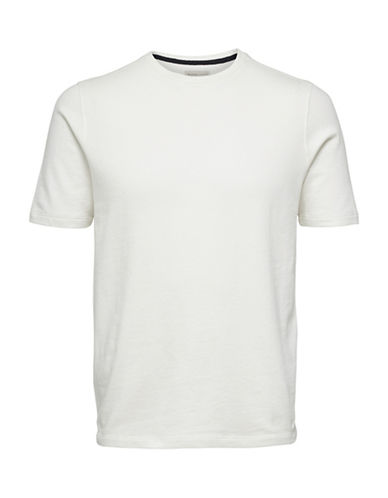 Selected Homme Blocked Cotton Tee-WHITE-XX-Large