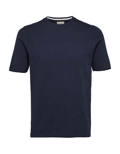 Selected Homme Blocked Cotton Tee-BLUE-XX-Large