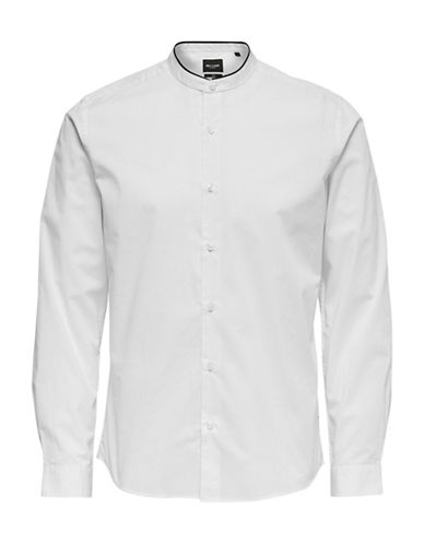 Only And Sons Stand-Collar Sport Shirt-WHITE-Medium
