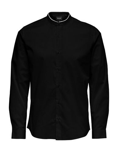 Only And Sons Stand-Collar Sport Shirt-BLACK-Medium