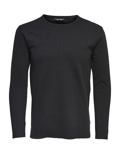 Only And Sons Long Sleeve Textured Knit Shirt-BLACK-Small