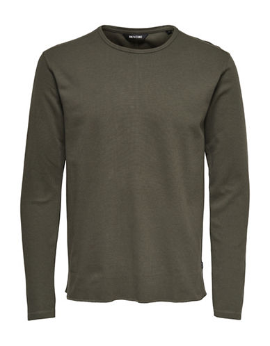 Only And Sons Long Sleeve Textured Knit Shirt-GREEN-Large