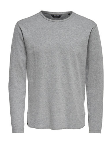 Only And Sons Long Sleeve Textured Knit Shirt-GREY-X-Large