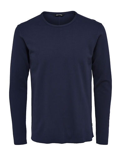 Only And Sons Long Sleeve Textured Knit Shirt-BLUE-Large