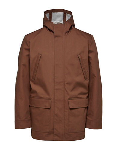 Selected Homme Hooded Zip-Front Cotton Jacket-BROWN-X-Large 89798801_BROWN_X-Large