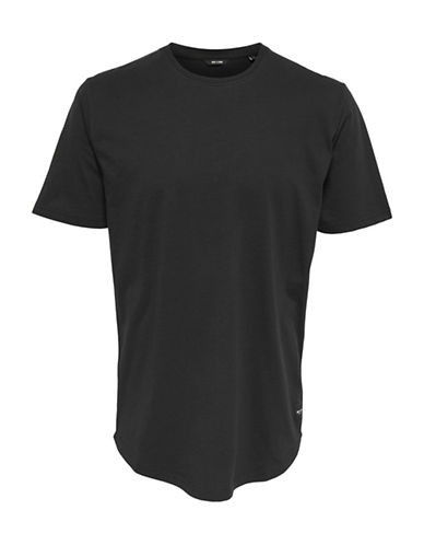 Only And Sons Crew Neck Cotton Long Tee-BLACK-X-Large