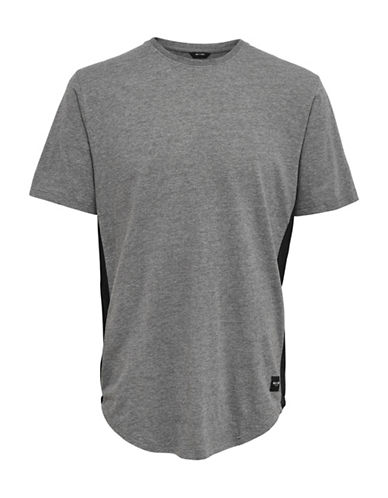Only And Sons Crew Neck Cotton Long Tee-GREY-X-Large