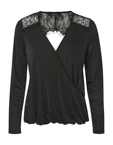 Vero Moda Holly Wrap Top-BLACK-X-Small
