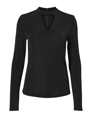 Vero Moda Long-Sleeve Choker-Neck Top-BLACK-X-Large