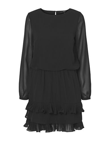 Vero Moda Freya Ruffle Skirt Dress-BLACK-Small