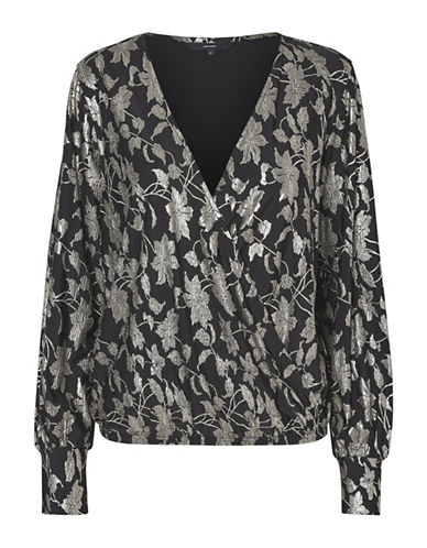 Vero Moda Long-Sleeve Wrap Top-BLACK-X-Small