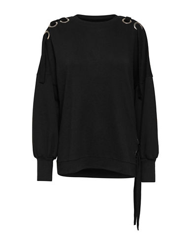 Only Oversized Eyelet Sweater-BLACK-X-Small