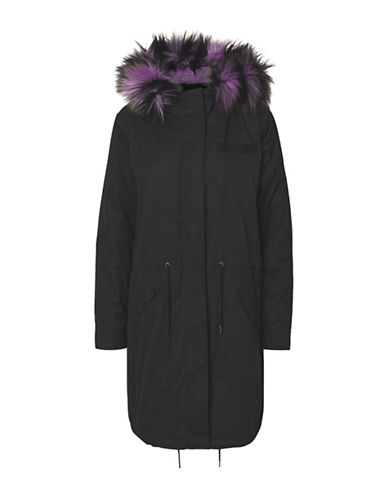 Noisy May Faux Fur Hood Longline Jacket-BLACK-Medium
