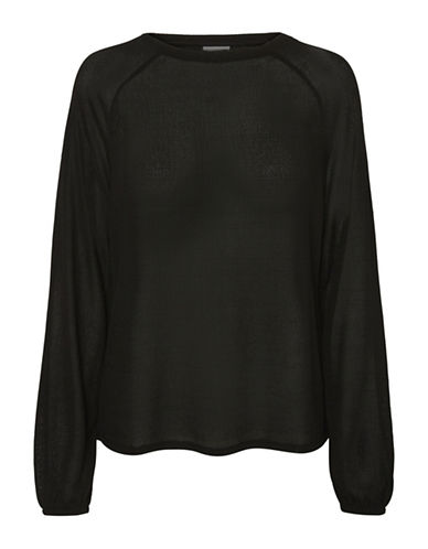 Noisy May Loose Sleeve Top-BLACK-Small