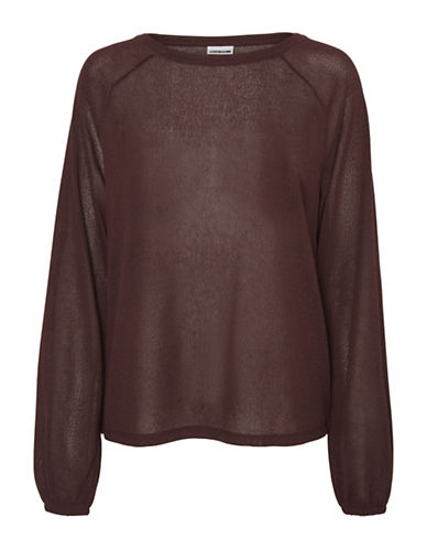 Noisy May Loose Sleeve Top-BROWN-Small