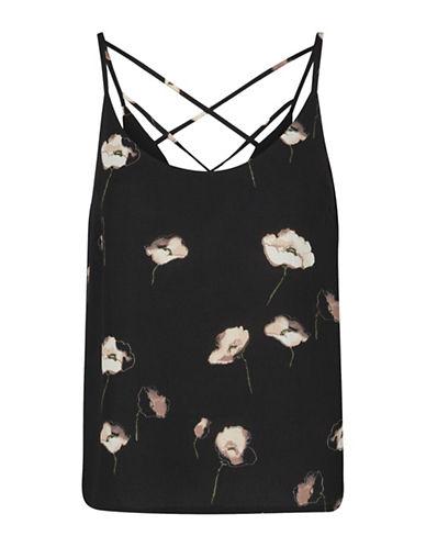 Vero Moda Mia Strappy Floral Camisole-BLACK-Medium