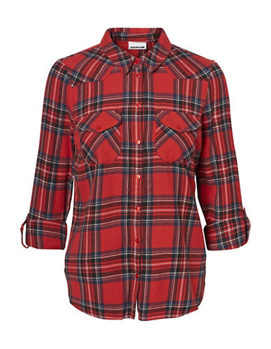 Noisy May Erik Cotton Button-Down Shirt-RED-Small