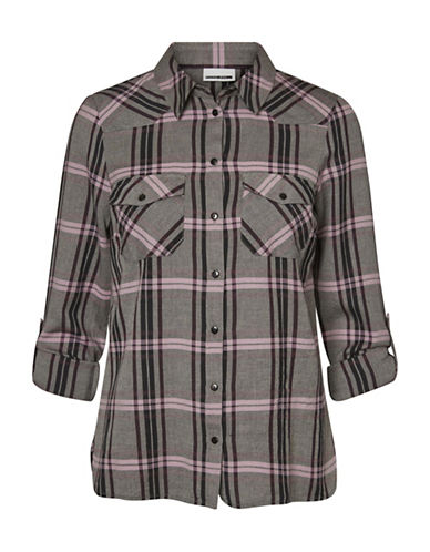 Noisy May Erik Cotton Button-Down Shirt-BROWN-Small
