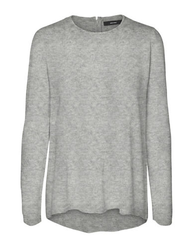 Vero Moda Samie Zip Back Sweater-GREY-Medium
