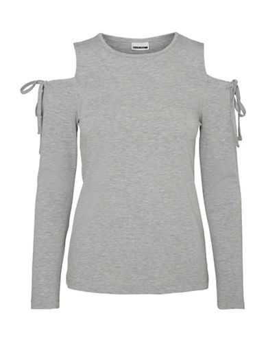 Noisy May Milla Cold Shoulder Blouse-LIGHT GREY-Medium