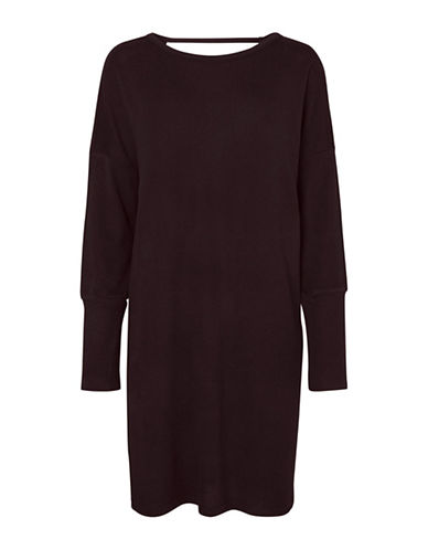 Noisy May Long Sleeve Knit Dress-BROWN-Medium