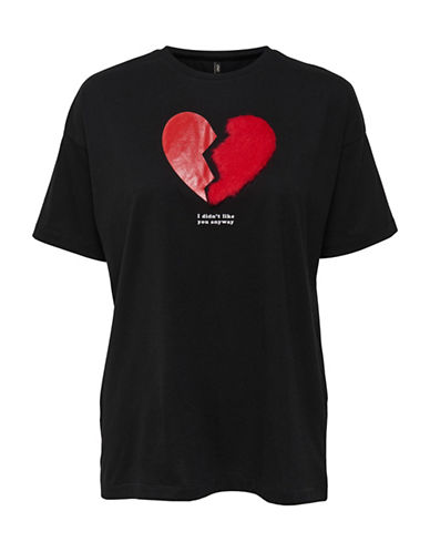 Only Furry Graphic Heart Tee-BLACK-Large