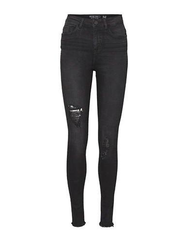 Noisy May Distress Skinny Jeans-BLACK-31X30