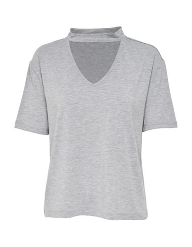 Only Choker T-Shirt-LIGHT GREY-X-Small