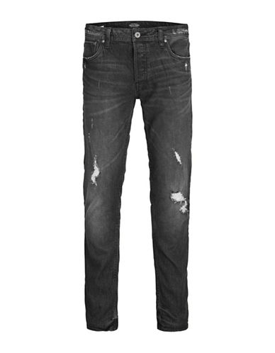Jack & Jones Slim Distressed Jeans-BLACK-33X34
