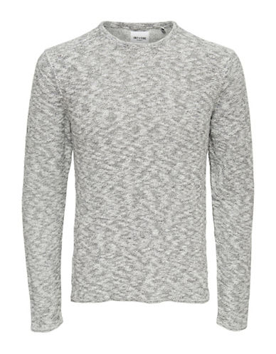 Only And Sons Textured Knitted Cotton Pullover-NATURAL-Large