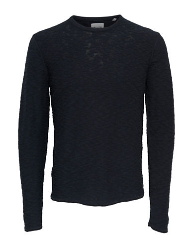 Only And Sons Textured Knitted Cotton Pullover-DARK BLUE-Medium