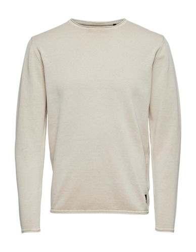 Only And Sons Garson Knit Pullover-OFF WHITE-Large