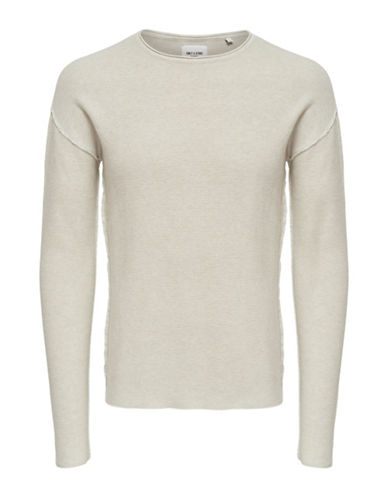 Only And Sons Dropped Shoulder Knit Pullover-NATURAL-Small