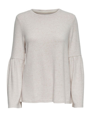 Only New Maye Flare Long-Sleeve Pullover-BEIGE-X-Small
